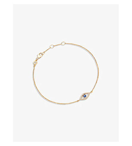 ASTLEY CLARKE Evil Eye 14ct yellow gold, sapphire and diamond bracelet (Yellow+gold