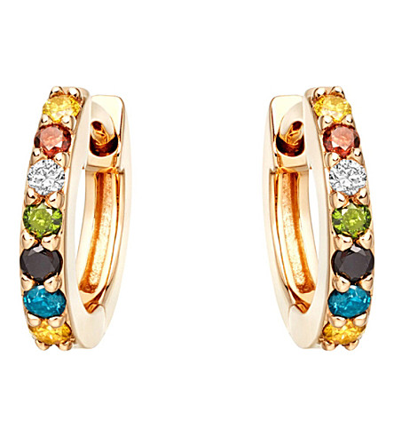 ASTLEY CLARKE Mini Halo 14ct yellow-gold and rainbow diamond hoop earrings (Yellow+gold