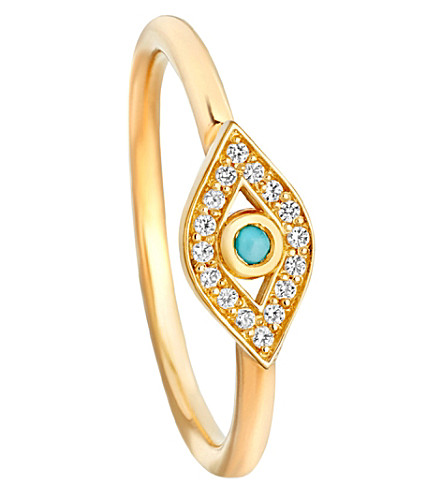 ASTLEY CLARKE Mini Evil Eye Biography ring (Yellow+vermeil