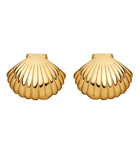 ASTLEY CLARKE Biography 18ct yellow gold-plated shell stud earrings (Yellow gold