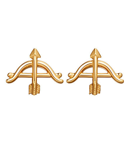 ASTLEY CLARKE Bow and Arrow biography 18ct yellow gold-plated stud earrings (Yellow+gold