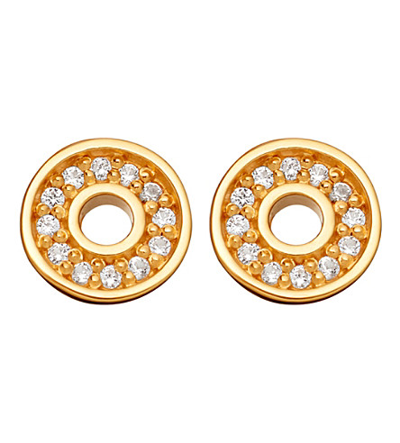 ASTLEY CLARKE Mini open halo biography 18ct yellow gold-plated stud earrings (Yellow+gold