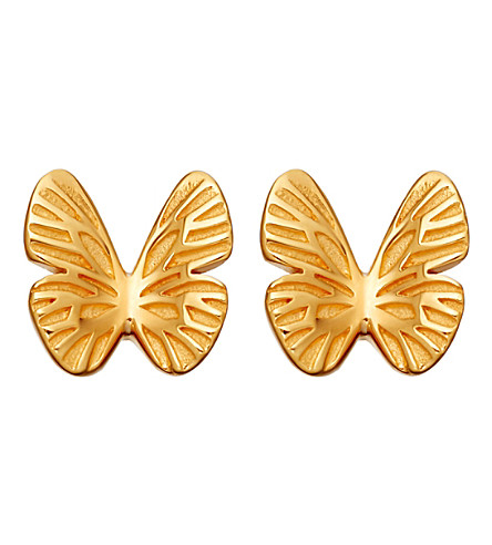 ASTLEY CLARKE Mini butterfly biography 18ct yellow gold-plated stud earrings (Yellow+gold