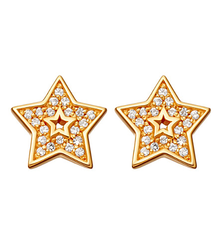 ASTLEY CLARKE Mini star biography 18ct yellow gold-plated and sapphire stud earrings (Yellow+gold