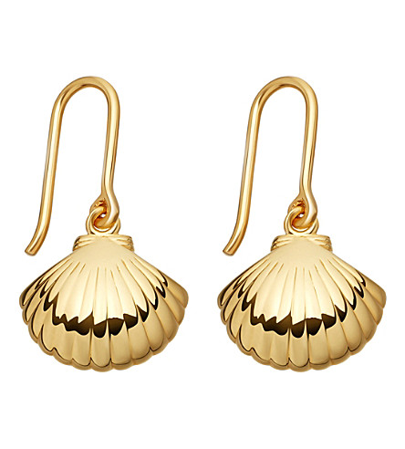 ASTLEY CLARKE Biography 18ct yellow-gold shell drop earrings (Yellow+gold