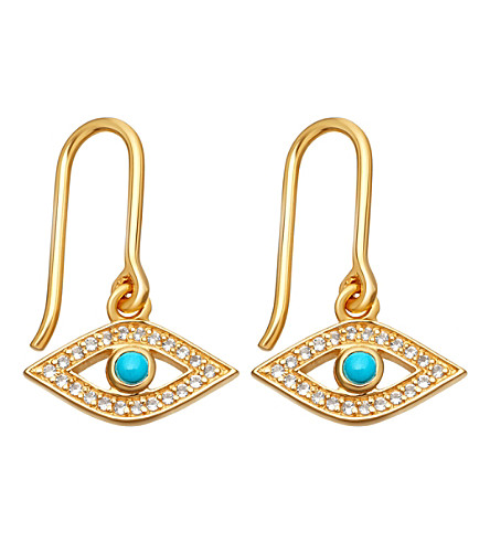 ASTLEY CLARKE Biography 18ct yellow-gold plated turquoise evil eye drop earrings (Yellow+gold