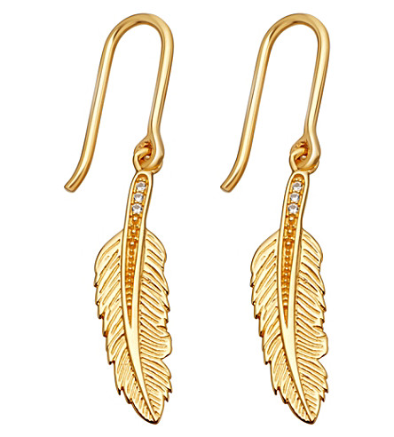 ASTLEY CLARKE Biography 18ct yellow-gold plated feather drop earrings (Yellow+gold