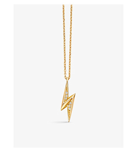 ASTLEY CLARKE Mini lightning bolt 18ct yellow-gold plated necklace (Yellow+gold