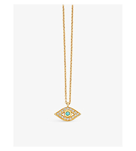 ASTLEY CLARKE Mini evil eye 18ct yellow-gold plated pavé turquoise necklace (Yellow+gold