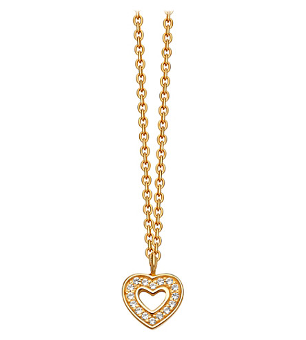 ASTLEY CLARKE Mini heart 18ct yellow-gold plated pavé necklace (Yellow+gold