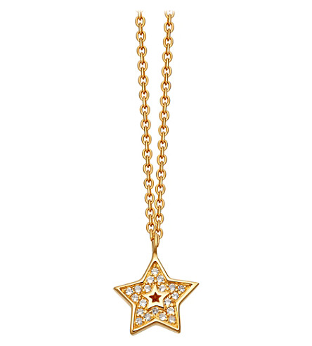 ASTLEY CLARKE Mini star 18ct yellow-gold plated pavé necklace (Yellow+gold