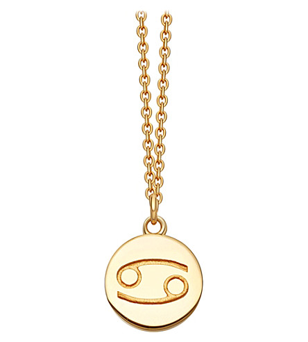 ASTLEY CLARKE Zodiac Cancer biography 18ct yellow gold-plated pendant (Yellow+gold