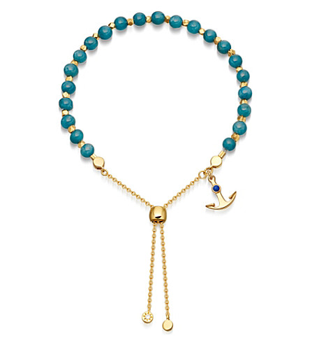 ASTLEY CLARKE Blue Apatite Super Kula anchor 18ct yellow-gold vermeil bracelet