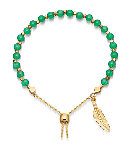 ASTLEY CLARKE Green Onyx Super Kula feather 18ct yellow-gold vermeil bracelet