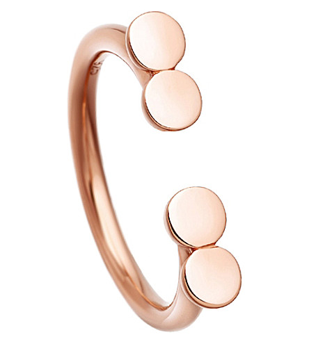 ASTLEY CLARKE Stilla Double Disc 18ct rose gold-plated ring (Rose+vermeil