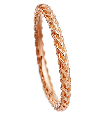 ASTLEY CLARKE Stilla Spiga 18ct rose gold-plated chain ring (Rose+vermeil