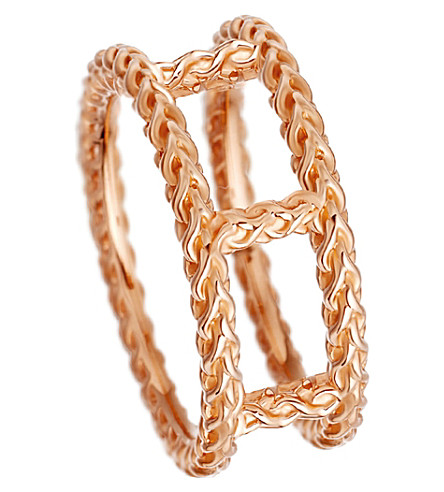 ASTLEY CLARKE Stilla Spiga double 18ct rose gold-plated chain ring (Rose+vermeil