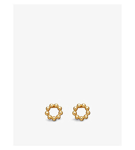 ASTLEY CLARKE Beaded Stilla 18ct yellow gold-plated stud earrings (Yellow+vermeil