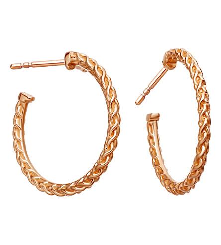 ASTLEY CLARKE Medium spiga 18ct rose gold-plated hoop earrings (Rose+vermeil