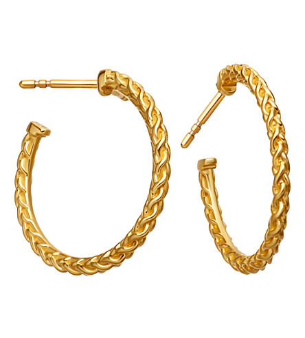 ASTLEY CLARKE Medium spiga 18ct yellow gold-plated hoop earrings (Yellow+vermeil