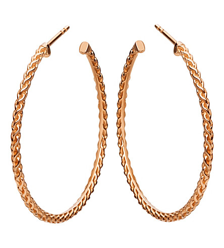 ASTLEY CLARKE Large spiga 18ct rose gold-plated hoop earrings (Rose+vermeil