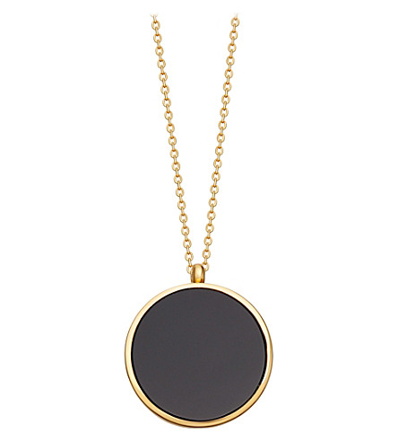 ASTLEY CLARKE Black Onyx Slice Stilla 18ct yellow-gold vermeil locket necklace