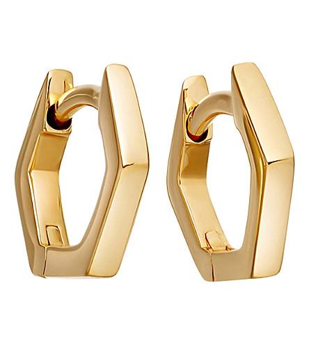 ASTLEY CLARKE Honeycomb 14ct yellow-gold hoop earrings (Yellow+gold