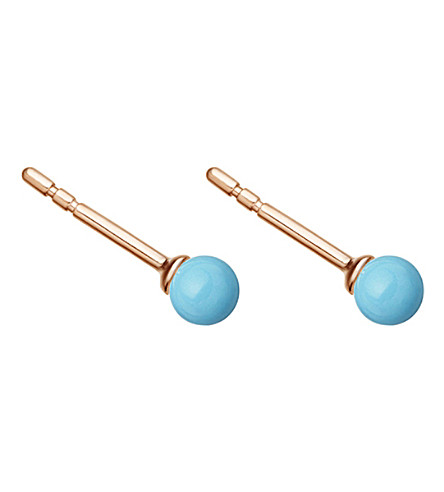 ASTLEY CLARKE Peggy 18ct rose gold-plated and turquoise stud earrings