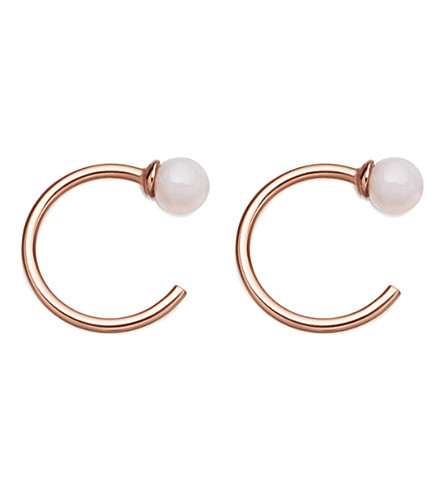 ASTLEY CLARKE Ezra 18ct rose gold-plated and pink opal stud hoop earrings