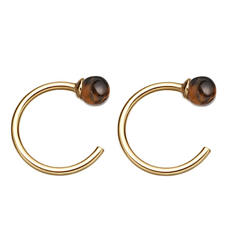 ASTLEY CLARKE Ezra 18ct yellow gold-plated and tigers eye stud hoop earrings
