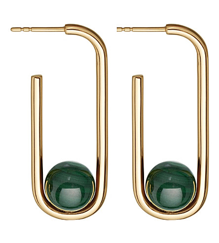 ASTLEY CLARKE Marcel yellow-gold vermeil & malachite hoop earrings