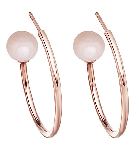 ASTLEY CLARKE Ezra rose-gold vermeil & pink opal hoop earrings