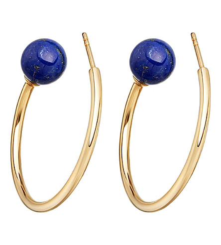 ASTLEY CLARKE Ezra yellow-gold vermeil & lapis hoop earrings