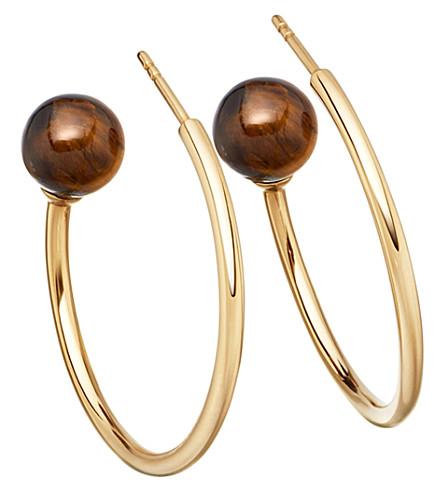 ASTLEY CLARKE Ezra yellow-gold vermeil & tigers eye hoop earrings
