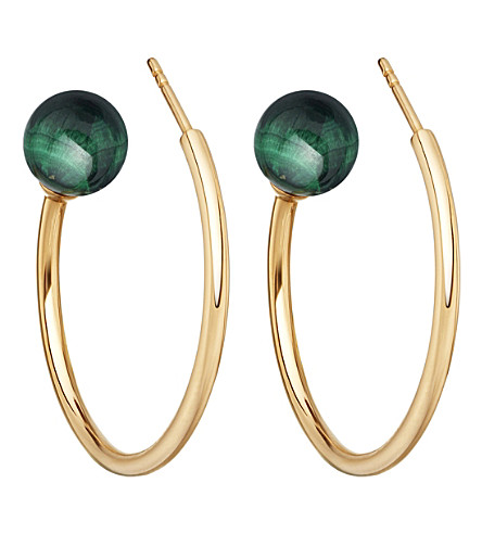 ASTLEY CLARKE Ezra yellow-gold & malachite hoop earrings