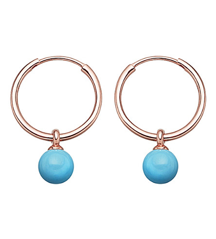 ASTLEY CLARKE Vera rose-gold vermeil & turquoise drop hoop earrings