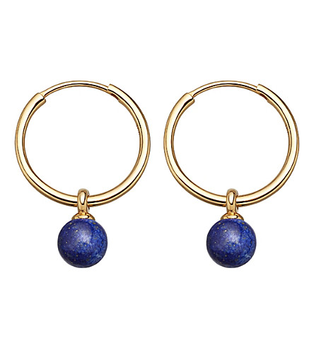 ASTLEY CLARKE Vera yellow-gold vermeil & lapis drop hoop earrings