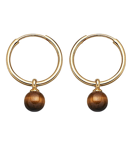 ASTLEY CLARKE Vera yellow-gold vermeil & tigers eye drop hoop earrings
