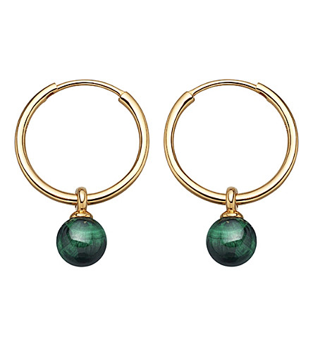 ASTLEY CLARKE Vera yellow-gold vermeil & malachite drop hoop earrings