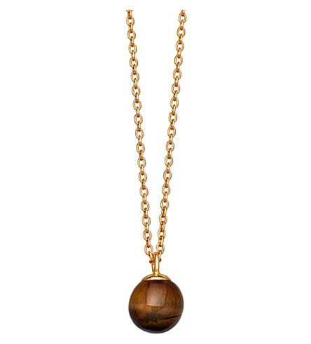 ASTLEY CLARKE Peggy yellow gold-vermeil & tigers eye pendant necklace