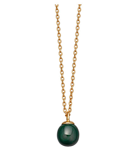 ASTLEY CLARKE Peggy yellow-gold vermeil & malachite pendant necklace