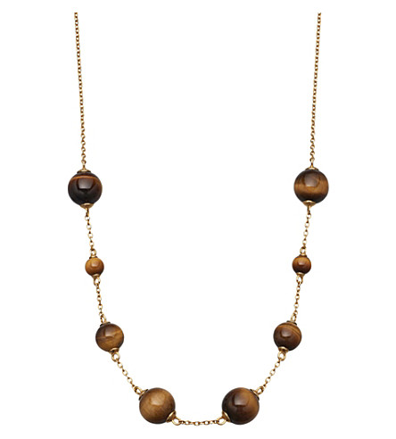 ASTLEY CLARKE Peggy yellow-gold vermeil & tigers eye necklace