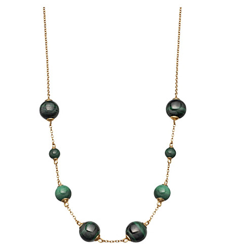 ASTLEY CLARKE Peggy yellow-gold vermeil & malachite necklace