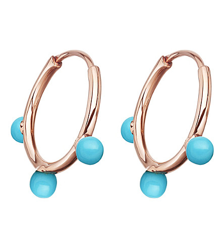 ASTLEY CLARKE Hazel rose-gold vermeil & turquoise hoop earrings