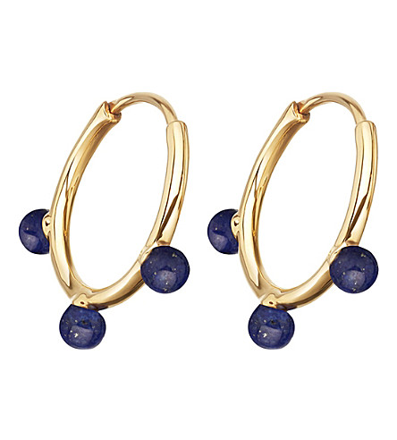 ASTLEY CLARKE Hazel yellow-gold vermeil & lapis hoop earrings