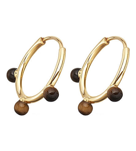 ASTLEY CLARKE Hazel yellow-gold vermeil & tigers eye hoop earrings