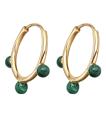 ASTLEY CLARKE Hazel yellow-gold vermeil & malachite hoop earrings