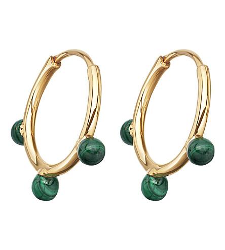 ASTLEY CLARKE Hazel yellow-gold vermeil & malachite hoop earrings