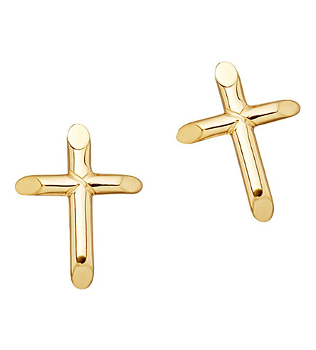 ASTLEY CLARKE Biography 18ct yellow-gold plated cross stud earrings