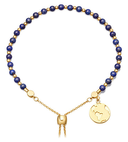 ASTLEY CLARKE Lapis earth 18ct gold plated sterling silver kula bracelet